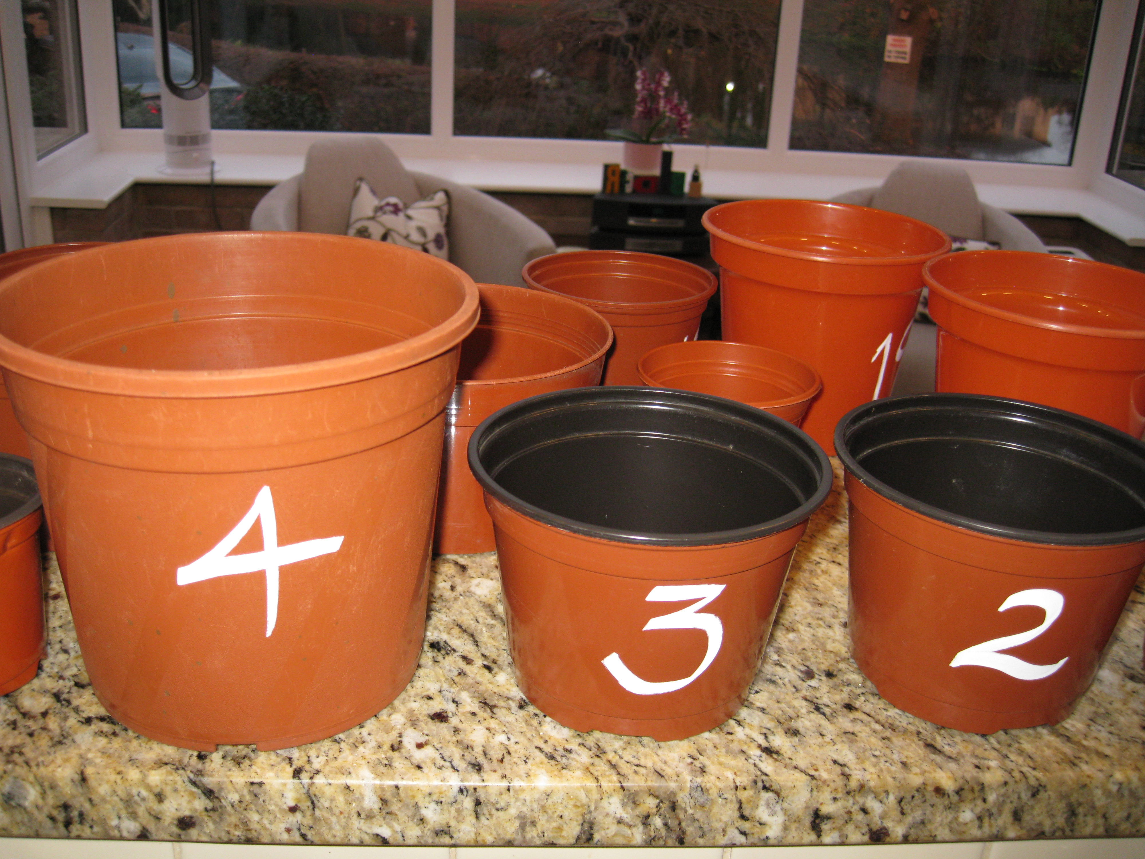 Numbered plant pots